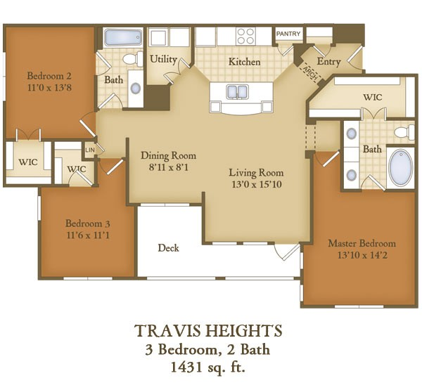 1,431 sq. ft. C1 floor plan