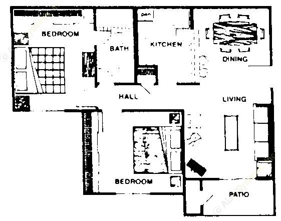 792 sq. ft. B1 floor plan