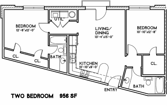 956 sq. ft. Paddington floor plan