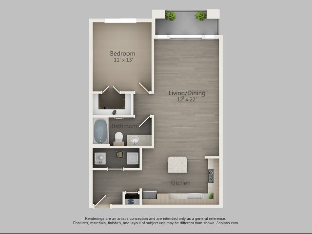 785 sq. ft. Alder floor plan