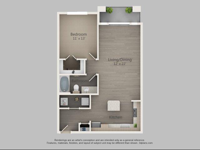 785 sq. ft. Alder floor plan