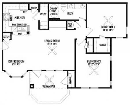 1,005 sq. ft. B floor plan