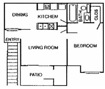 600 sq. ft. Magnolia floor plan