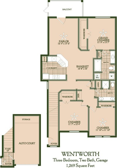 1,269 sq. ft. Wentworth floor plan