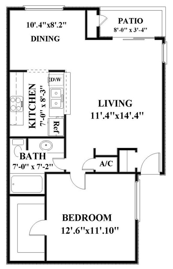 703 sq. ft. A3 floor plan