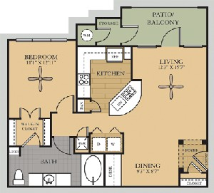 840 sq. ft. A2/BRAZOS floor plan