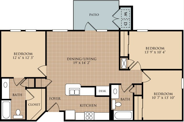 1,150 sq. ft. C1 floor plan