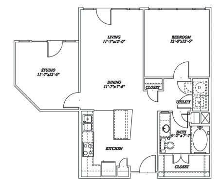 912 sq. ft. A3S floor plan