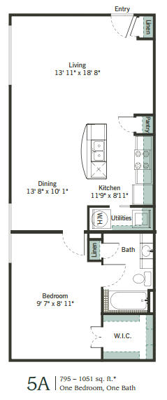 779 sq. ft. to 1,028 sq. ft. 5A floor plan