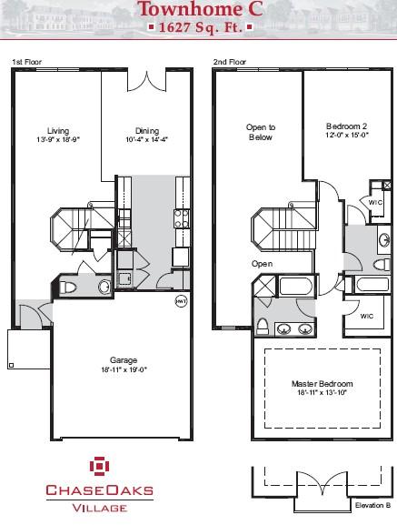 1,627 sq. ft. C floor plan