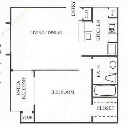550 sq. ft. A1 floor plan