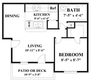 605 sq. ft. OAKLAWN floor plan