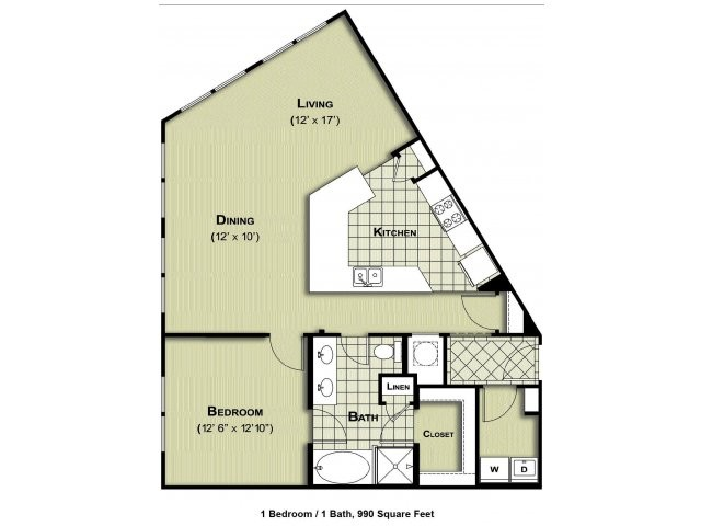 990 sq. ft. A4 floor plan