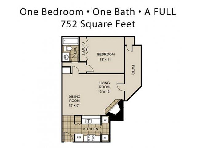 752 sq. ft. A6-A floor plan