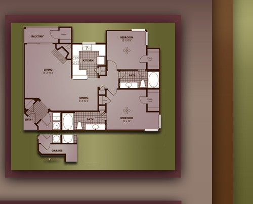 1,126 sq. ft. B2/OXFORD floor plan