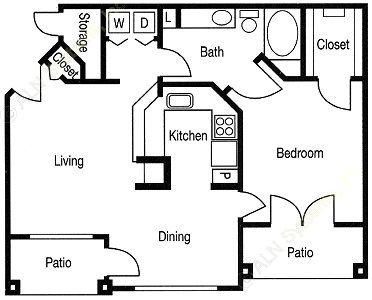 784 sq. ft. Addison floor plan