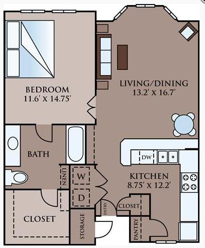 711 sq. ft. Claremont floor plan