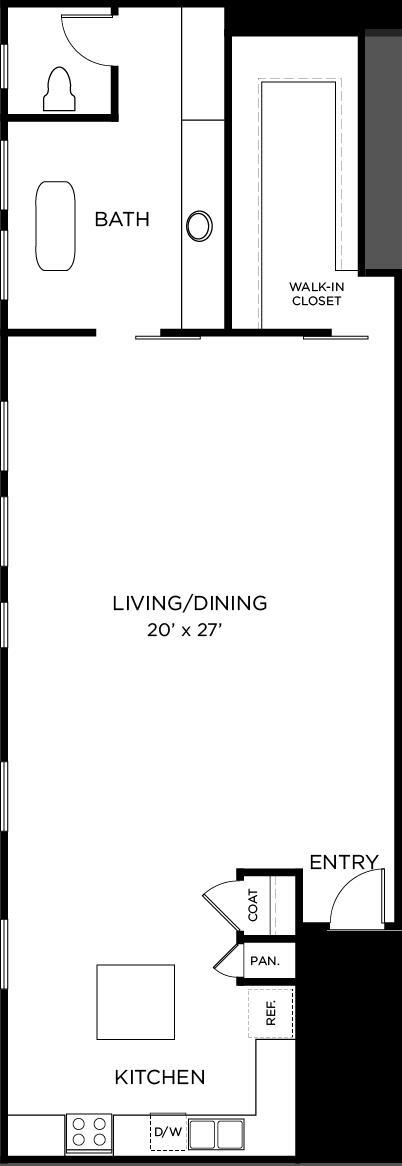 1,105 sq. ft. A4 floor plan