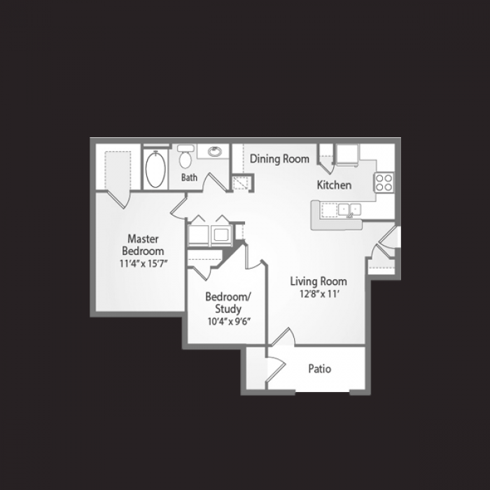 912 sq. ft. VISTA floor plan
