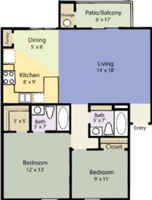 955 sq. ft. Dogwood floor plan