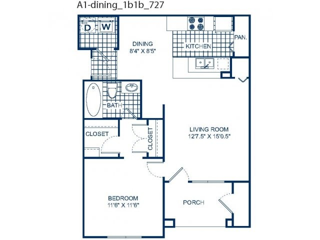 727 sq. ft. A1 (1st) floor plan