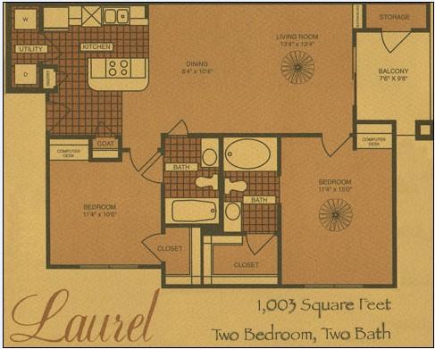 1,003 sq. ft. B2 floor plan