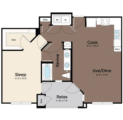 791 sq. ft. Capri floor plan