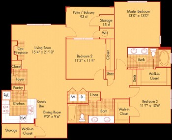 1,368 sq. ft. to 1,415 sq. ft. C2/C21 floor plan