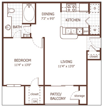 648 sq. ft. Avon floor plan
