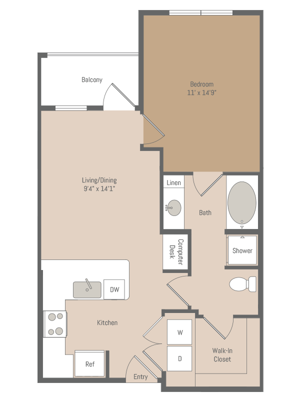 670 sq. ft. A1.5 floor plan
