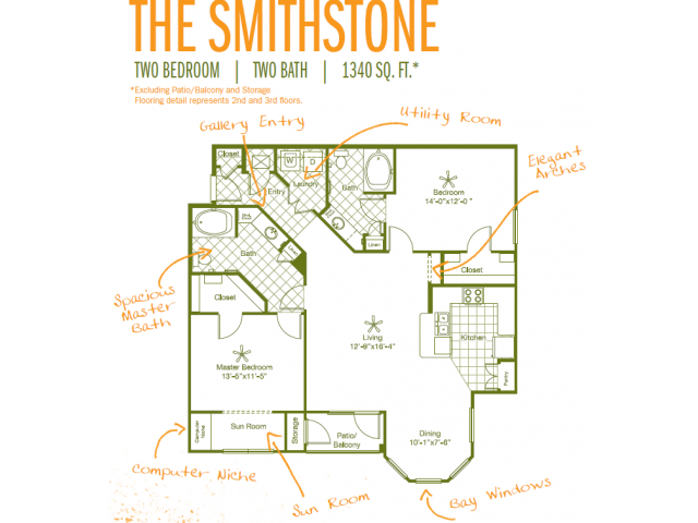 1,340 sq. ft. Smithstone floor plan
