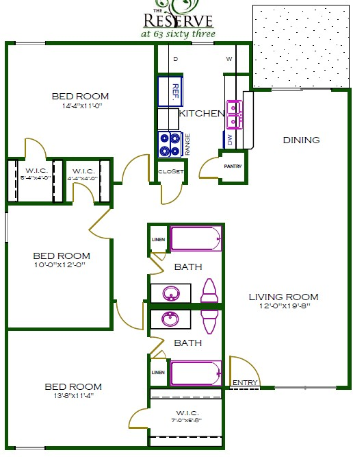 1,265 sq. ft. D1WD floor plan
