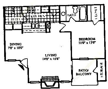720 sq. ft. A-2/60 floor plan