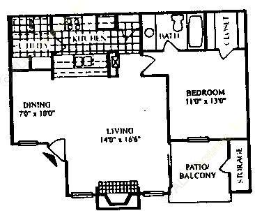 720 sq. ft. A-2/60% floor plan