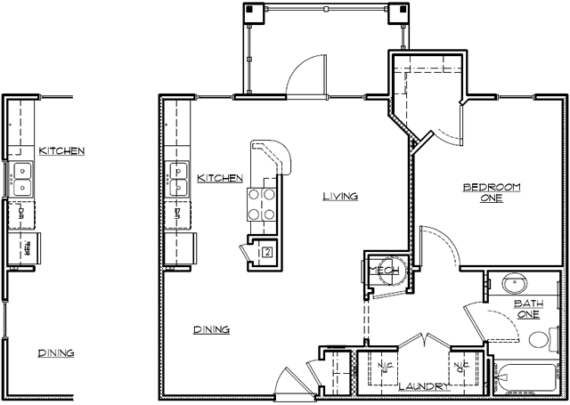 926 sq. ft. 60% floor plan