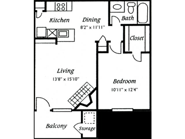 637 sq. ft. Preakness floor plan
