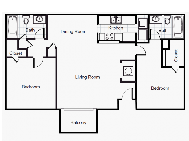 974 sq. ft. B2/50% floor plan