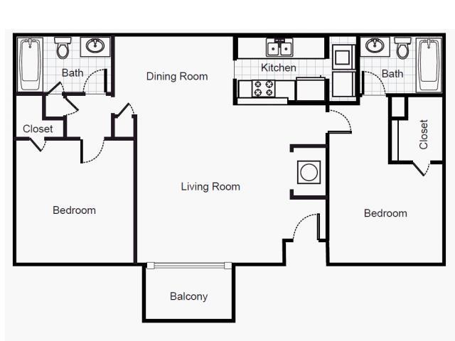 974 sq. ft. B2/80% floor plan