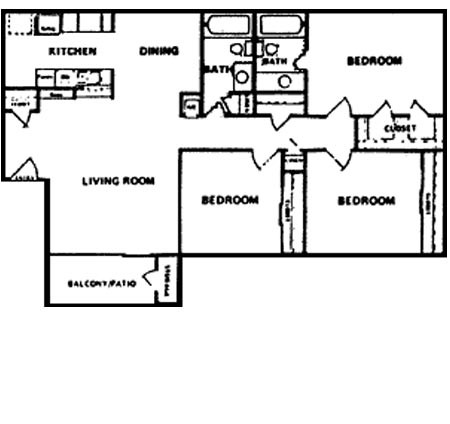 1,200 sq. ft. F floor plan