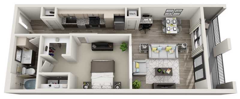 743 sq. ft. to 840 sq. ft. L1 floor plan