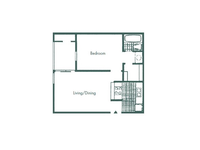 516 sq. ft. A1 floor plan