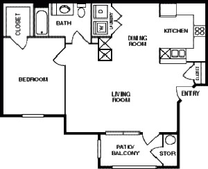 800 sq. ft. 50% floor plan