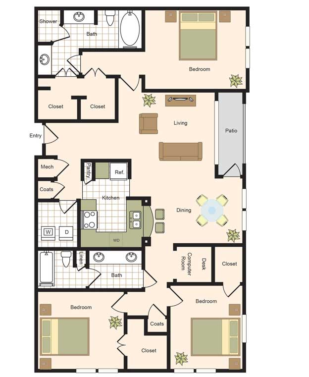 1,555 sq. ft. C1-C5 floor plan