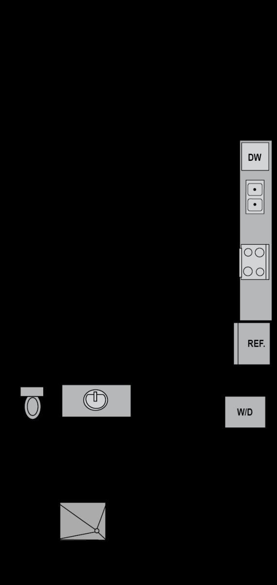 540 sq. ft. E3 floor plan