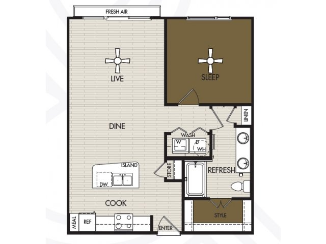 773 sq. ft. A2a floor plan