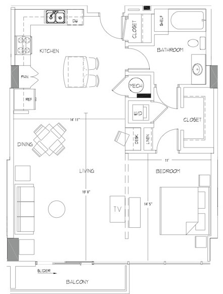 922 sq. ft. A11A floor plan