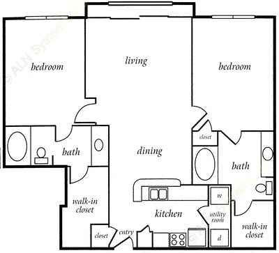 1,147 sq. ft. PRINCETON floor plan
