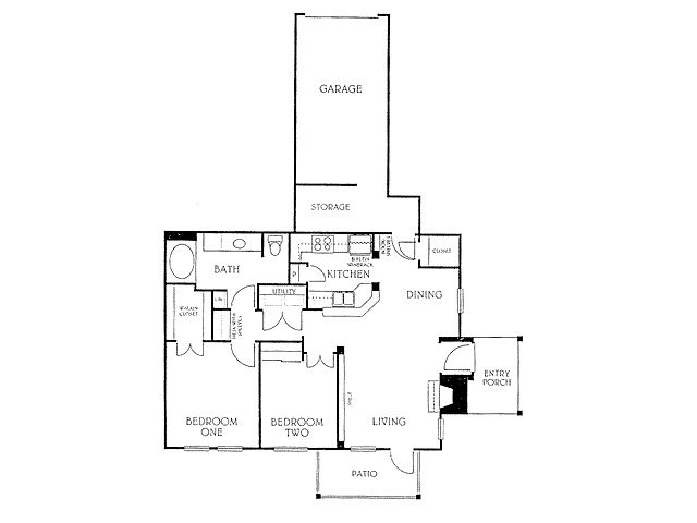 897 sq. ft. B1-2 floor plan