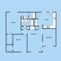 1,250 sq. ft. 2-2L floor plan