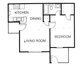 531 sq. ft. A2 floor plan